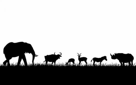 非洲大草原草地上吃草的大象水牛羚羊斑马和犀牛等非洲野生动物剪影png图片免抠矢量素材