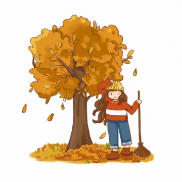 秋天变黄的大树和树下打扫落叶的卡通女孩png图片素材