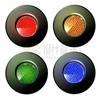 4种颜色的火车交通信号灯png图片免抠矢量素材