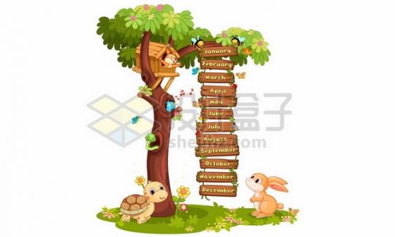 卡通乌龟兔子和大树上挂下来的木牌菜单618945png矢量图片素材