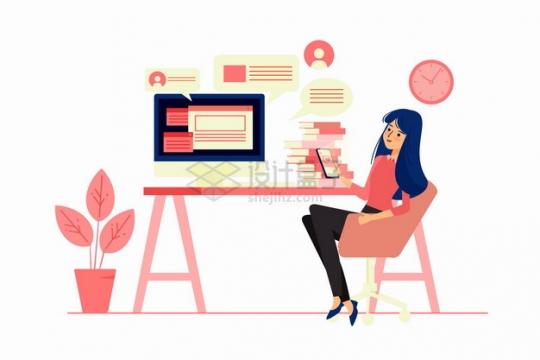 卡通女孩坐在办公桌前玩手机看电脑扁平插画png图片素材