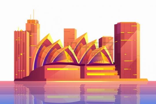 红色的悉尼歌剧院城市天际线高楼大厦建筑插画png图片素材