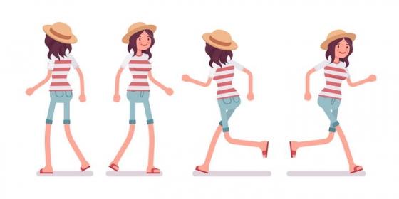 4款正在散步奔跑的条纹T恤卡通女孩图片免抠矢量素材