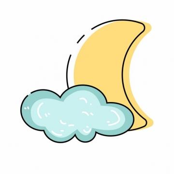 MBE风格黄色弯月和蓝色云朵晚安简笔画377598png图片素材
