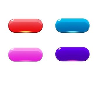四款不同颜色的圆角水晶按钮图片免抠素材