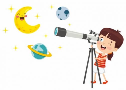 用天文望远镜看星星和月亮的卡通小女孩png图片免抠矢量素材