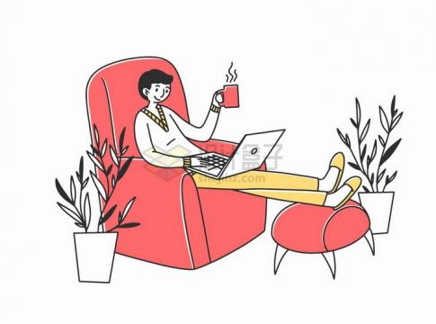 躺在沙发上翘着腿看电脑的商务人士手绘插画png图片素材