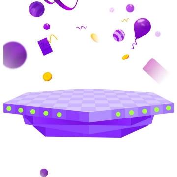 紫色3D立体多边形展台淘宝天猫京东电商产品展示图片免抠素材