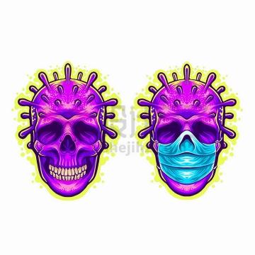 戴口罩的骷髅头长出了新型冠状病毒抽象插画png图片免抠矢量素材