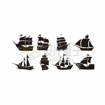 8款复古帆船剪影插画640230png图片素材