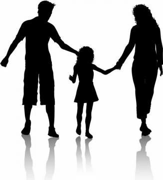 爸爸妈妈和女儿一家人手牵手亲子人物剪影png图片免抠矢量素材