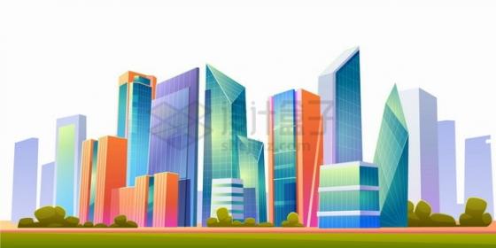 卡通城市天际线高楼大厦建筑风景漫画插画png图片素材