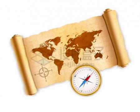 展开的复古羊皮纸草纸卷轴上的世界地图和指南针png图片素材