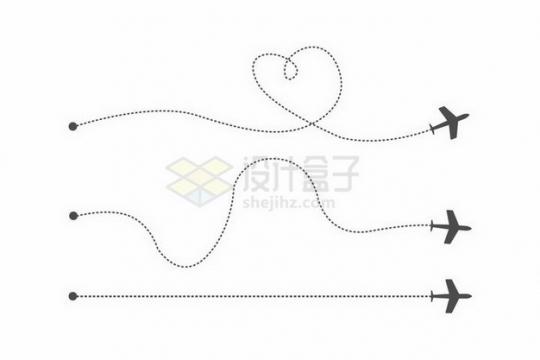 3款黑色虚线飞机飞行线路png图片免抠矢量素材