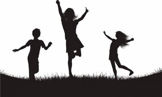 在草地上兴奋得跳起来的三个快乐小孩儿童人物剪影png图片免抠矢量素材
