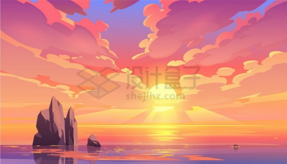 夕阳日落日出的海洋和天空风景漫画插画png图片素材