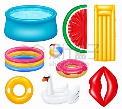 各种充气游泳池游泳圈充气躺椅等png图片免抠矢量素材