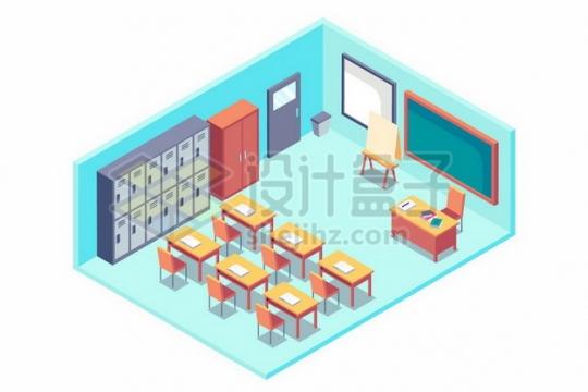 2.5D风格淡蓝色的课堂黑板课桌等813842免抠矢量图片素材