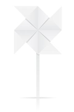 用白纸折叠的风车纸风车折纸玩具童年回忆系列免抠矢量图片素材