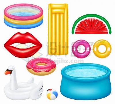 各种彩色充气游泳池游泳设施png图片免抠矢量素材