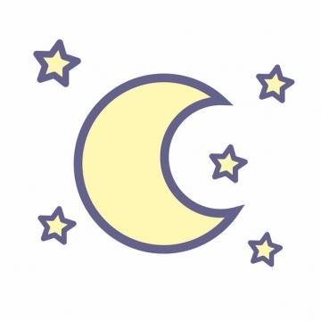 卡通黄色弯月和星星图案279029png图片素材
