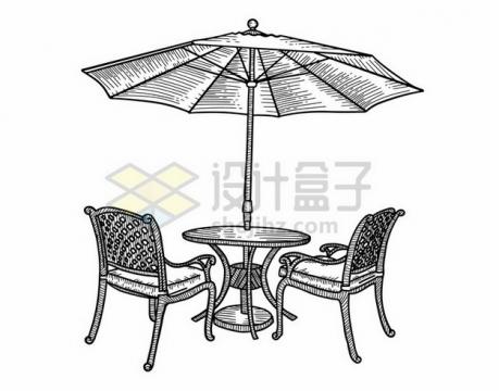 咖啡店外的椅子和遮阳伞线条素描插画703737png矢量图片素材