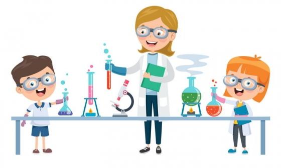 卡通老师学生在正在化学实验图片免抠矢量图