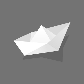 带阴影的折纸船png图片免抠矢量素材