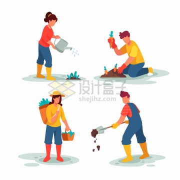 浇水挖土种植收获等卡通农民正在种田png图片素材