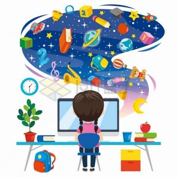 卡通女孩在电脑前上网课学习各种知识png图片素材