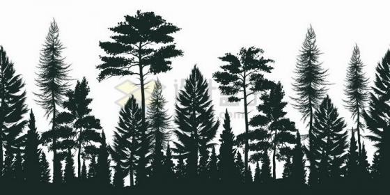 松树组成的树林剪影png图片免抠矢量素材
