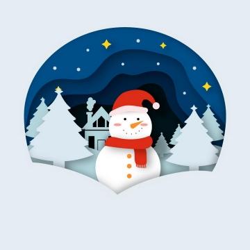 剪纸叠加风格冬天里的雪人图片免抠素材