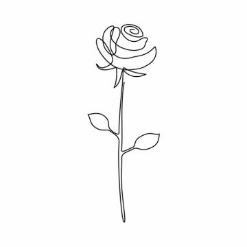 一根线条玫瑰花花朵手绘插画简笔画559159png图片素材