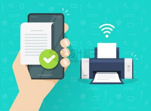 一只手拿着手机通过WiFi连接打印机打印文件png图片免抠矢量素材