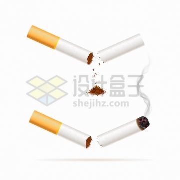 折断的香烟正在冒烟燃烧的烟头吸烟有害健康png图片素材