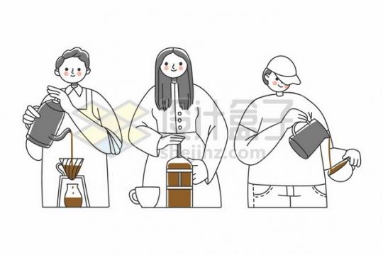 3个卡通年轻人冲泡咖啡892291png矢量图片素材