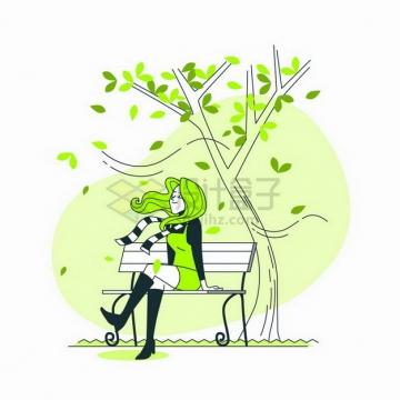 卡通美女坐在公园大树下的长椅上线条插画png图片免抠矢量素材
