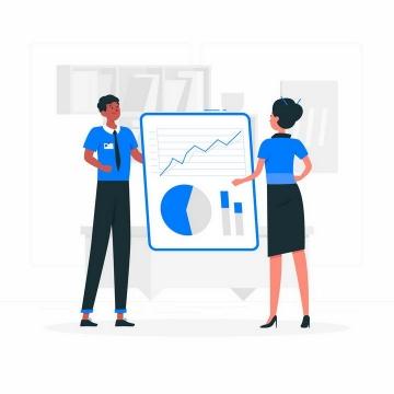 扁平插画风格正在分析数据图表的商务人士png图片免抠矢量素材