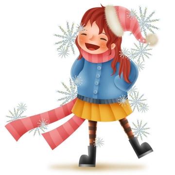 戴着圣诞帽的可爱卡通女孩图片免抠png素材