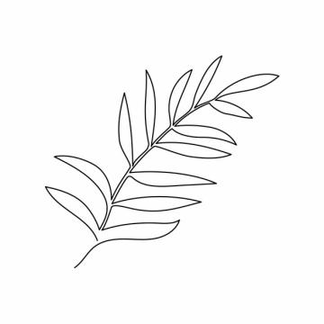 一根线条叶子树叶手绘插画简笔画336253png图片素材