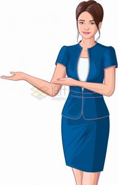 蓝色职业装美女空姐客服人员请进手势彩绘插画png图片素材