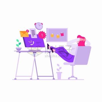 翘腿在桌上年轻人看着电脑上接收到的信息扁平插画png图片免抠矢量素材
