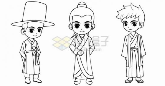 卡通男孩穿着韩国中国日本传统服装手绘线条插画png图片素材