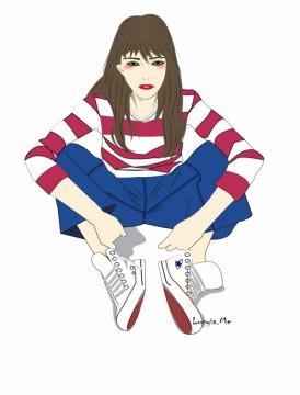 美少女赵小米坐在地上png图片素材607016