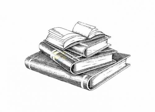 一堆书籍打开的书本世界读书日手绘素描插画png图片免抠矢量素材