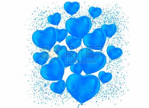 蓝色的心形气球聚合在一起211474png矢量图片素材