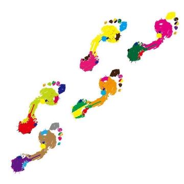 抽象彩色涂鸦风格的脚丫脚印图案图片png免抠素材