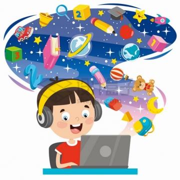 卡通男孩戴着耳机上网课学习各种知识png图片素材