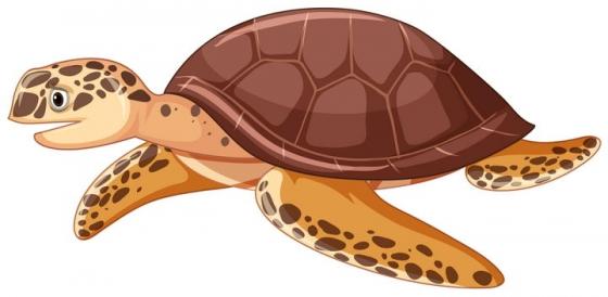 棕色的卡通海龟海洋野生动物爬行动物图片免抠矢量素材