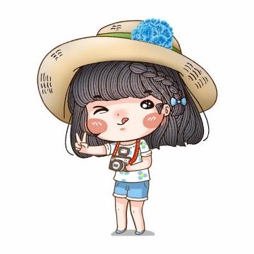 戴着草帽的卡通女孩使用照相机拍照png图片免抠矢量素材